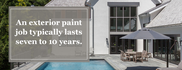 An exterior paint job typically lasts seven to 10 years