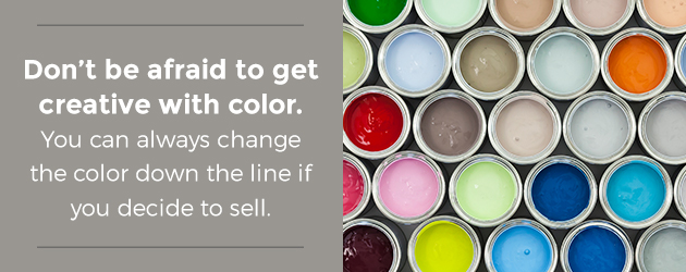 Get creative with color for cabinets.