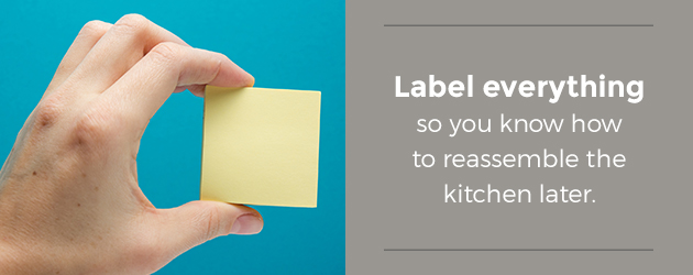 Label everything when disassembling your kitchen