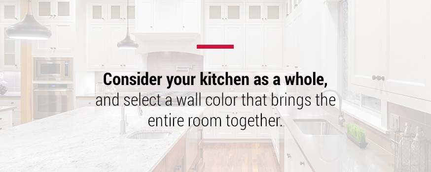 Consider your kitchen as a whole when selecting wall colors