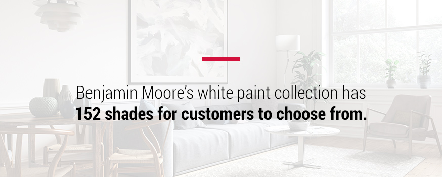 Benjamin Moore's white paint collection has 152 shades to choose from
