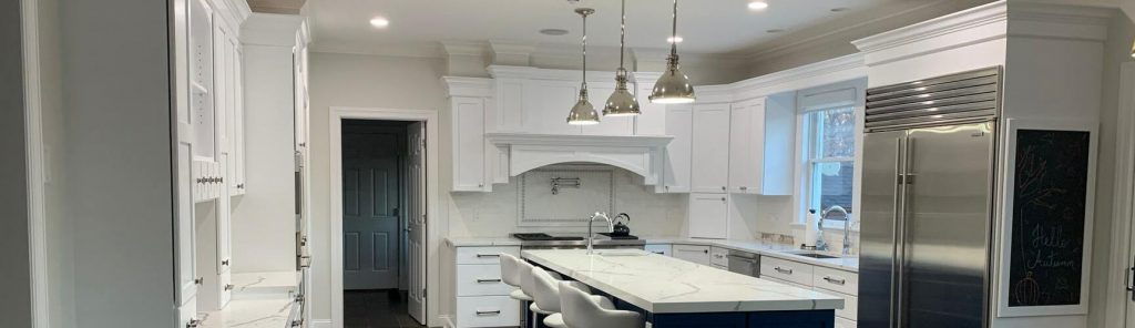 Professional painted modern white kitchen cabinets